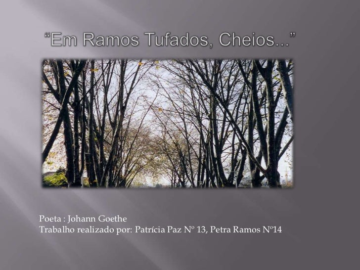 """""""Em Ramos Tufados, Cheios...""""<br />Poeta : Johann Goethe<br />Trabalho realizado por: Patrícia Paz Nº 13, Petra Ramos Nº14..."""