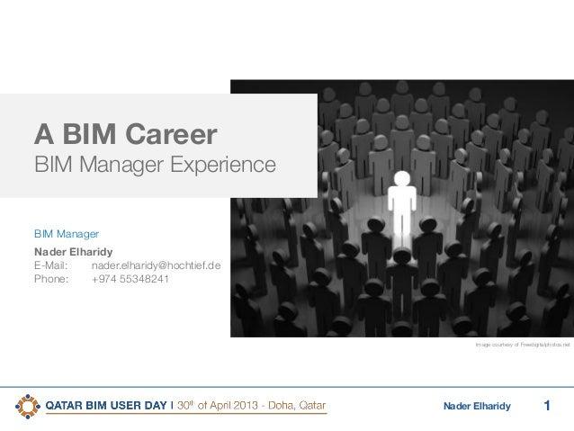 1Nader ElharidyA BIM CareerBIM Manager ExperienceBIM ManagerNader ElharidyE-Mail: nader.elharidy@hochtief.dePhone: +974 55...