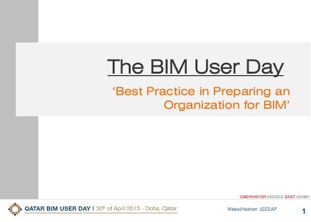 1Waleed Hashem LEED APOBERMEYER MIDDLE EAST GMBH'Best Practice in Preparing anOrganization for BIM'The BIM User Day