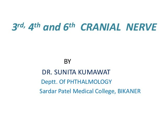 rd, 3  th 4  and  th 6  CRANIAL NERVE  BY DR. SUNITA KUMAWAT Deptt. Of PHTHALMOLOGY Sardar Patel Medical College, BIKANER