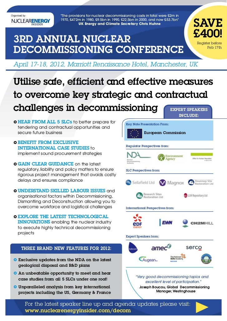 """Organised by:           """"The provisions for nuclear decommissioning costs in total were £2m in                            ..."""