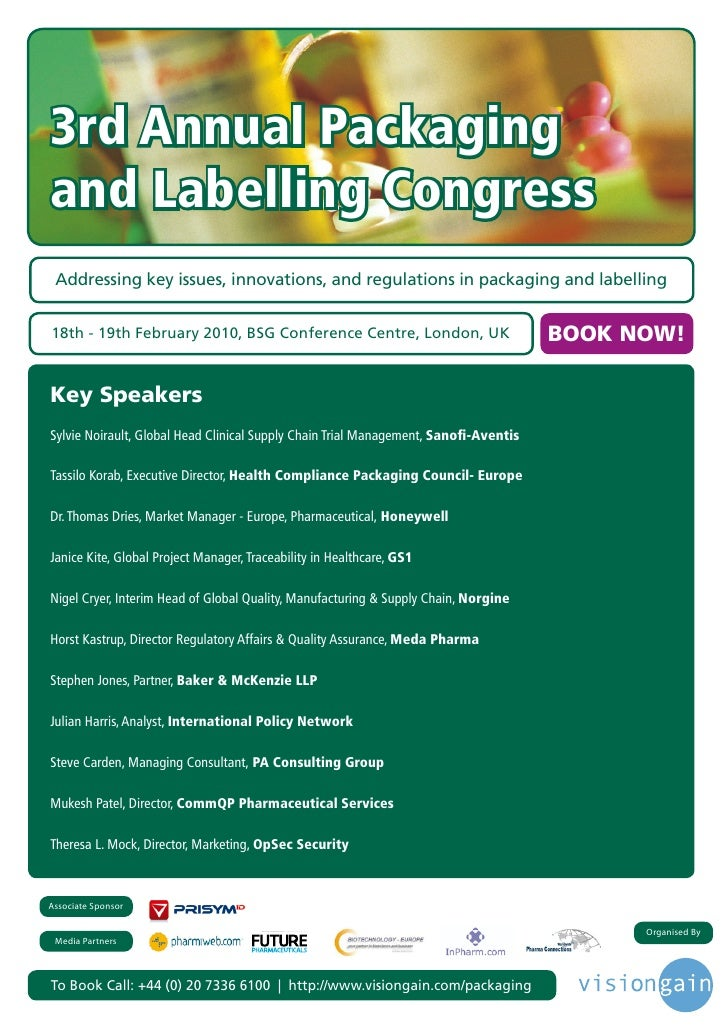 3rd Annual Packaging and Labelling Congress  Addressing key issues, innovations, and regulations in packaging and labellin...
