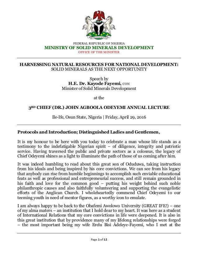 Harnessing Natural Resources For National Development Solid Minerals