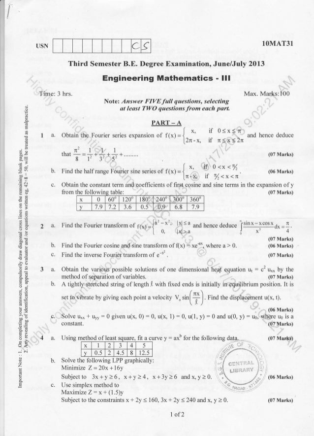 IUSN IOMAT3T Third Semester B.E. Degree Examination, June/July 2013 Max. Marks:100 (07 Marks) (06 Marks) , 9 :h 96, .g 6 -...