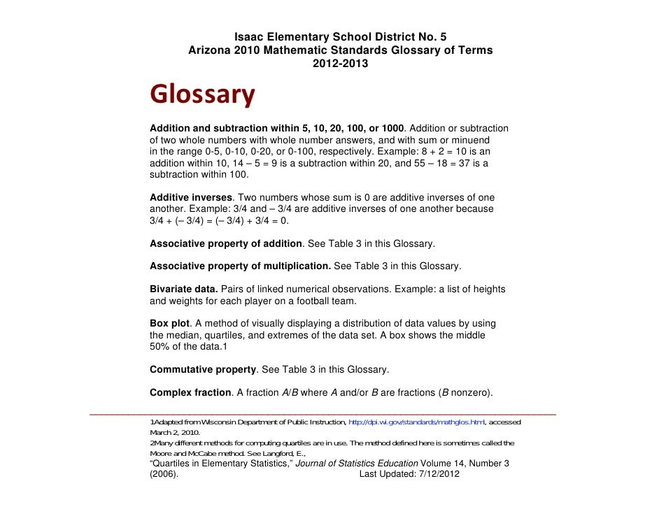 Isaac Elementary School District No. 5                     Arizona 2010 Mathematic Standards Glossary of Terms            ...