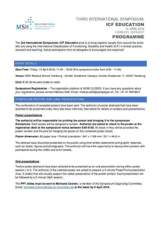 THIRD INTERNATIONAL SYMPOSIUM: ICF EDUCATION 13. APRIL 2018 HAMBURG GERMANY PROGRAMME The 3rd International Symposium: ICF...