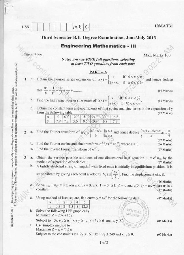 rn { L t- I I USN 1OMAT31 and hence deduce (07 Marks) (06 Marks) (07 Marks) (06 Marks) (07 Marks) Time: 3 hrs. Third Semes...