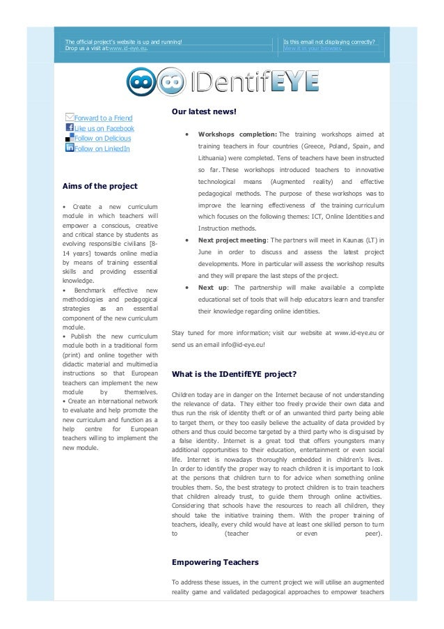 The official project's website is up and running! Drop us a visit at:www.id-eye.eu. Is this email not displaying correctly...