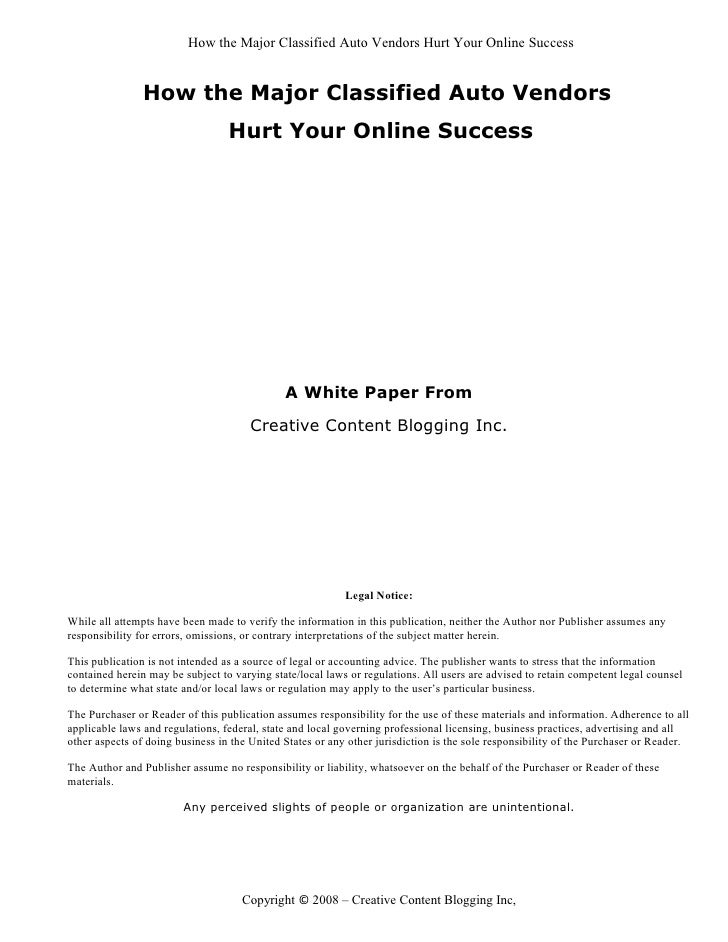 How the Major Classified Auto Vendors Hurt Your Online Success                   How the Major Classified Auto Vendors    ...