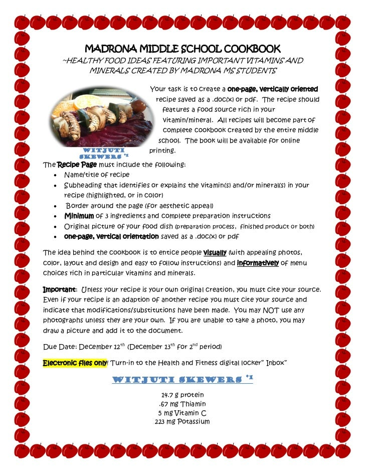 MADRONA MIDDLE SCHOOL COOKBOOK       ~HEALTHY FOOD IDEAS FEATURING IMPORTANT VITAMINS AND            MINERALS CREATED BY M...