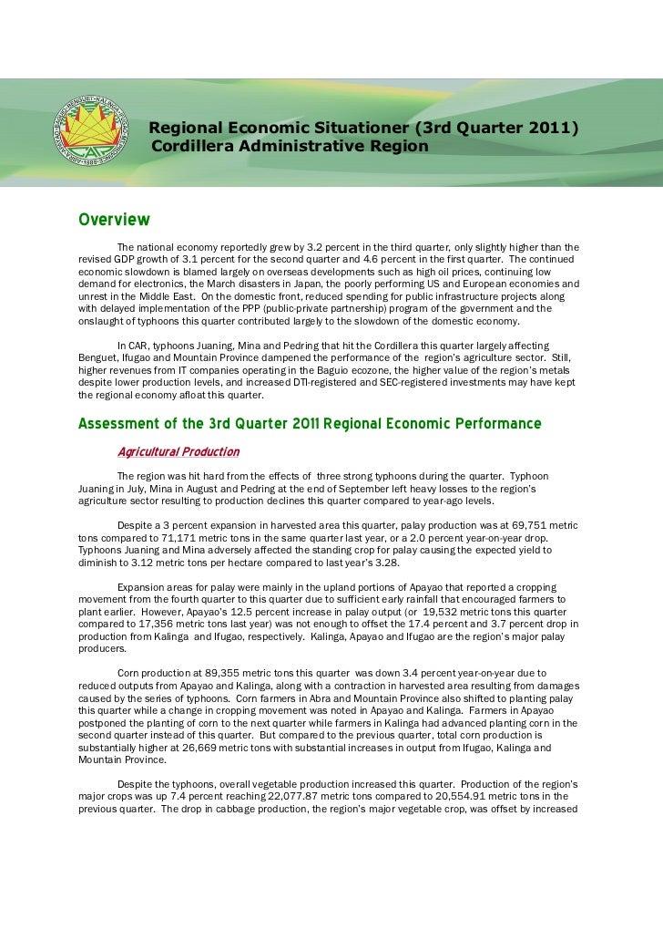 Regional Economic Situationer (3rd Quarter 2011)               Cordillera Administrative RegionOverview         The nation...