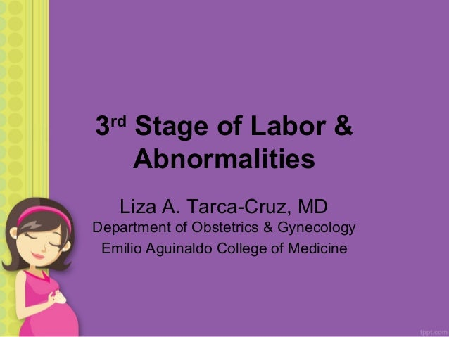 3 Stage of Labor & Abnormalities rd  Liza A. Tarca-Cruz, MD Department of Obstetrics & Gynecology Emilio Aguinaldo College...