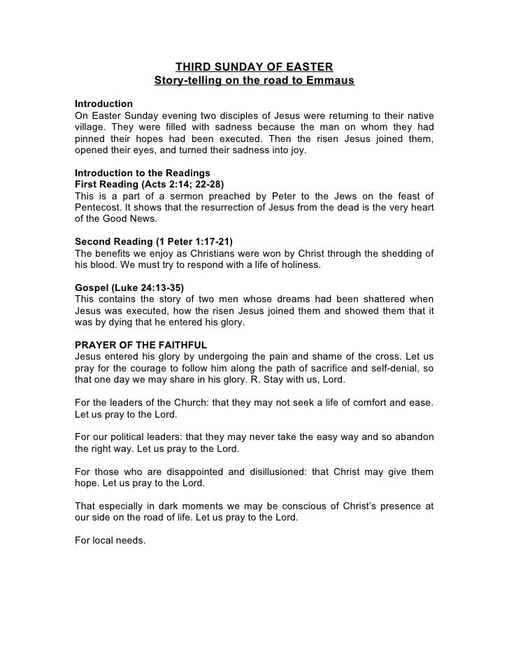 THIRD SUNDAY OF EASTER                    Story-telling on the road to Emmaus  Introduction On Easter Sunday evening two d...