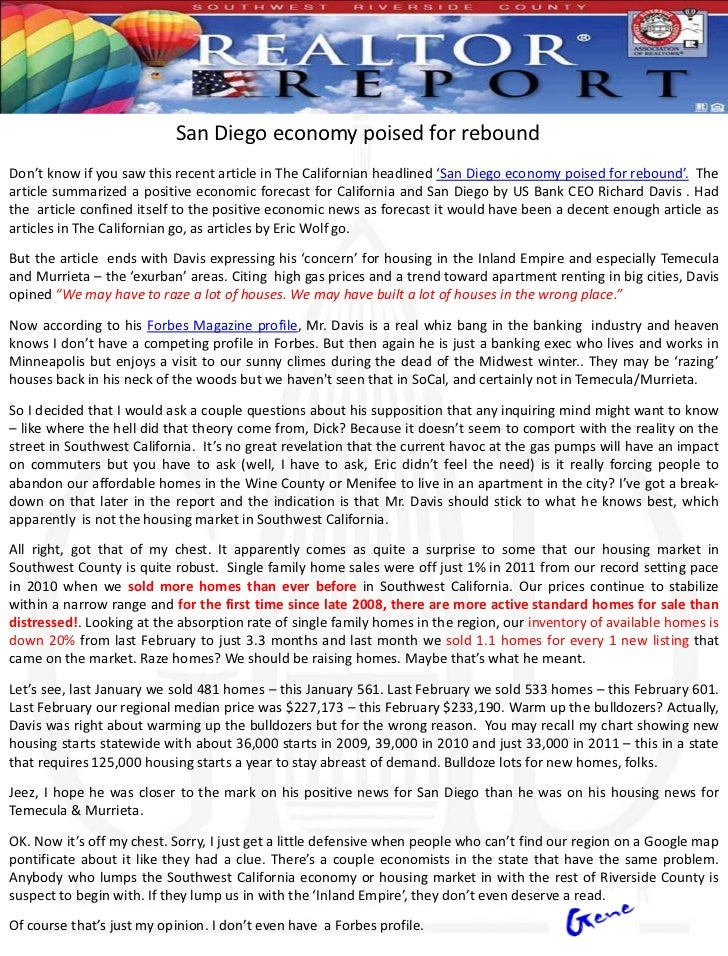 San Diego economy poised for reboundDon't know if you saw this recent article in The Californian headlined 'San Diego econ...