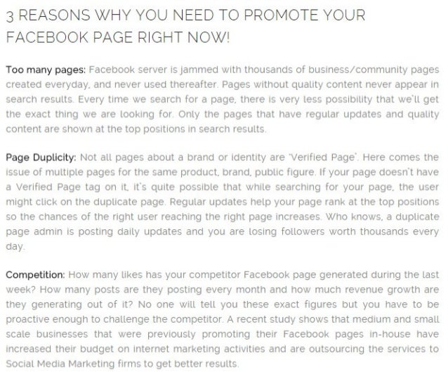 3 REASONS WHY YOU NEED TO PROMOTE YOUR FACEBOOK PAGE RIGHT NOW!   Too many pages:  Facebook server is jammed with thousand...