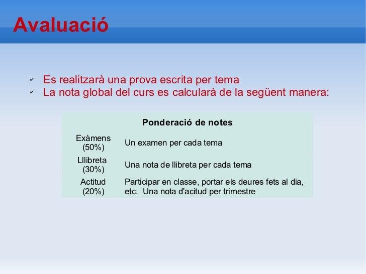 Avaluació ✔   Es realitzarà una prova escrita per tema ✔   La nota global del curs es calcularà de la següent manera:     ...