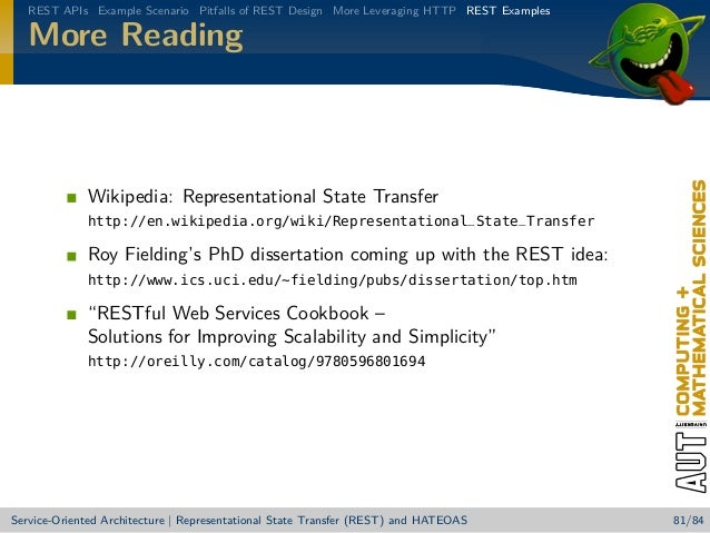 "rest dissertation fielding Back in 2000, roy fielding presented his doctoral dissertation at university of california-irvine on the representational state transfer representational state transfer or ""rest"" is the software architectural style designed for distributed systems and, particularly, the world wide web."