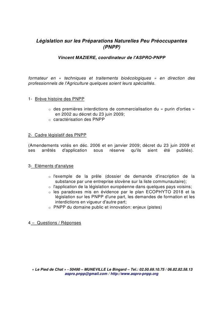 Législation sur les Préparations Naturelles Peu Préoccupantes                                (PNPP)                 Vincen...