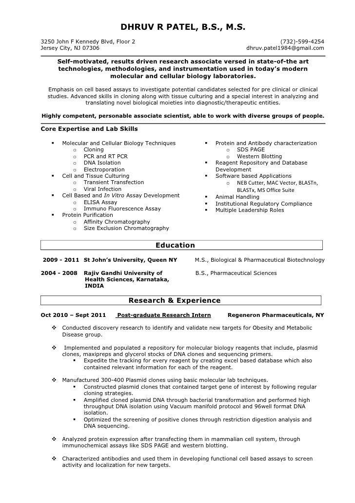 Molecular Biology Skills Resume - twnctry