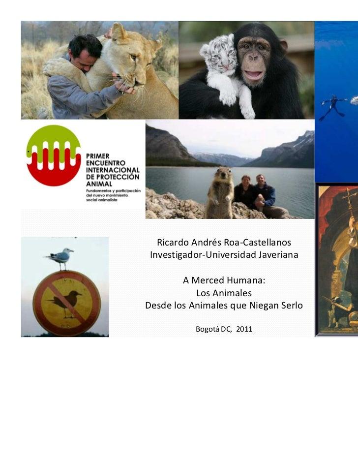 Ricardo Andrés Roa-Castellanos Investigador-Universidad Javeriana        A Merced Humana:           Los AnimalesDesde los ...