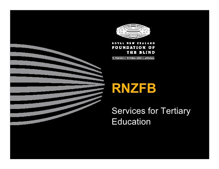 RNZFB Services for Tertiary Education