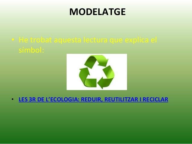 MODELATGE • He trobat aquesta lectura que explica el símbol: • LES 3R DE L'ECOLOGIA: REDUIR, REUTILITZAR I RECICLAR
