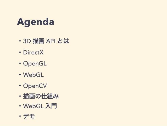 Agenda ・3D 描画 API とは ・DirectX ・OpenGL ・WebGL ・OpenCV ・描画の仕組み ・WebGL 入門 ・デモ