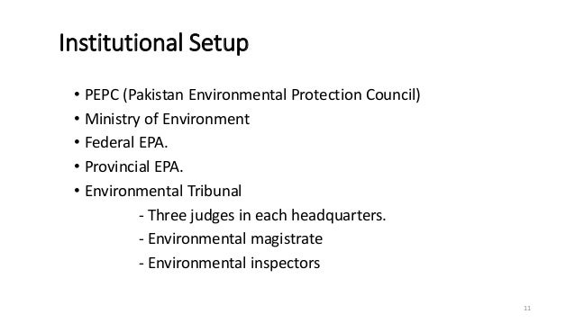 Institutional Setup • PEPC (Pakistan Environmental Protection Council) • Ministry of Environment • Federal EPA. • Provinci...