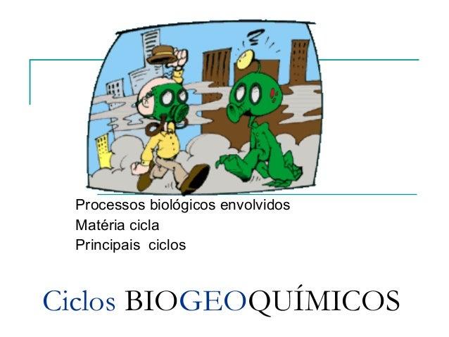 Processos biológicos envolvidos Matéria cicla Principais ciclosCiclos BIOGEOQUÍMICOS