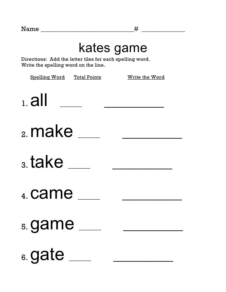 Name ____________________________# _____________                           kates game Directions: Add the letter tiles for...