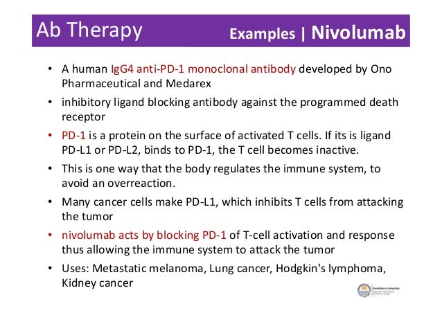 Ab Therapy • A human IgG4 anti-PD-1 monoclonal antibody developed by Ono Pharmaceutical and Medarex • inhibitory ligand bl...