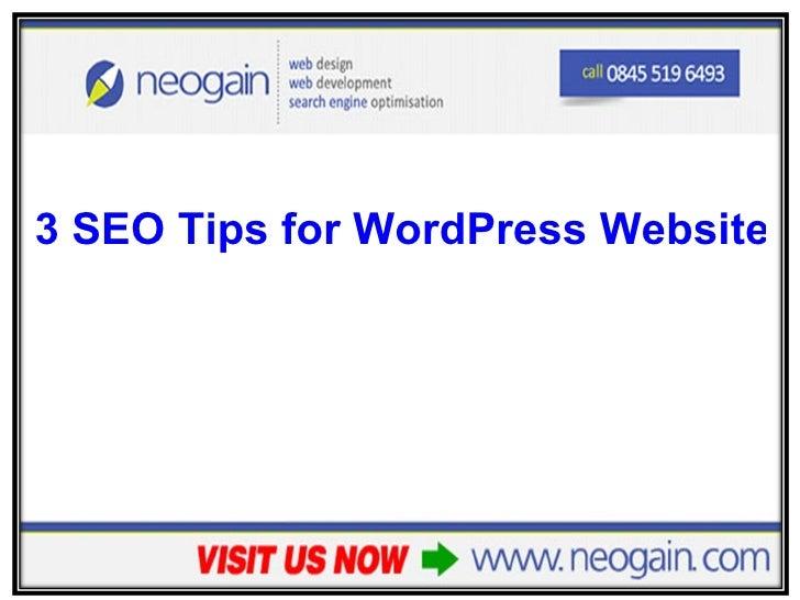 <ul><li>3 SEO Tips for WordPress Website Owners </li></ul>