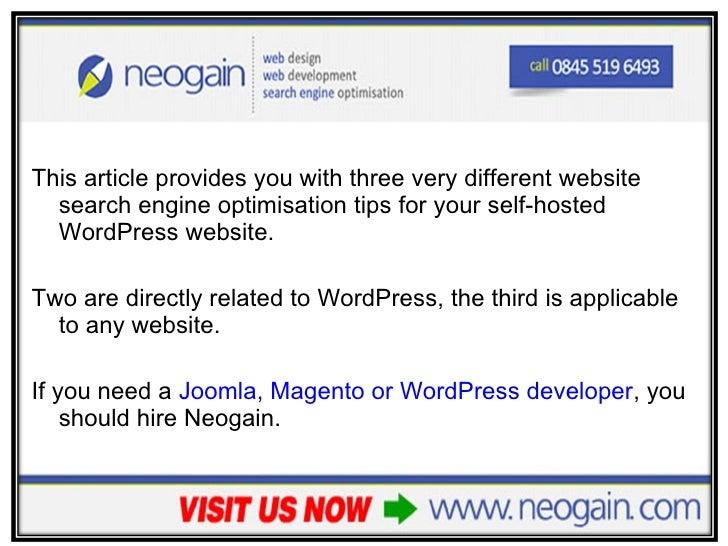 3 SEO Tips for WordPress Website Owners slideshare - 웹