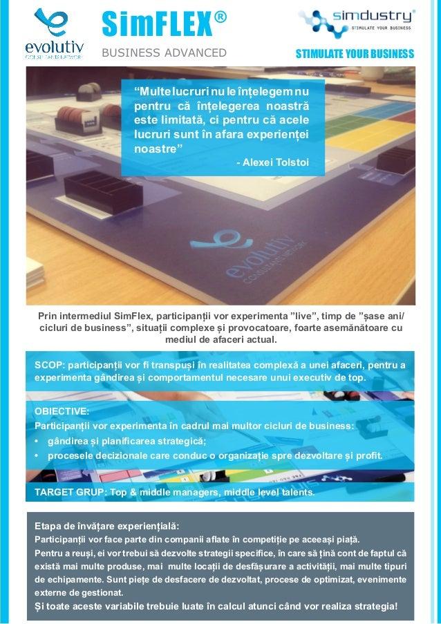 """SimFLEX® BUSINESS ADVANCED Prin intermediul SimFlex, participanții vor experimenta """"live"""", timp de """"șase ani/ cicluri de b..."""