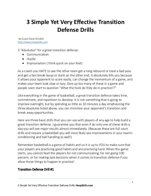 13 Simple Yet Very Effective Transition Defense Drills-HoopSkills.com3 Simple Yet Very Effective TransitionDefense Drills-...