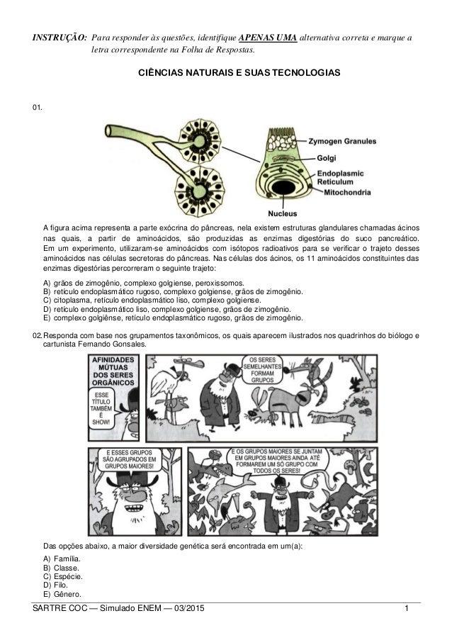 SARTRE COC — Simulado ENEM — 03/2015 1 INSTRUÇÃO: Para responder às questões, identifique APENAS UMA alternativa correta e...
