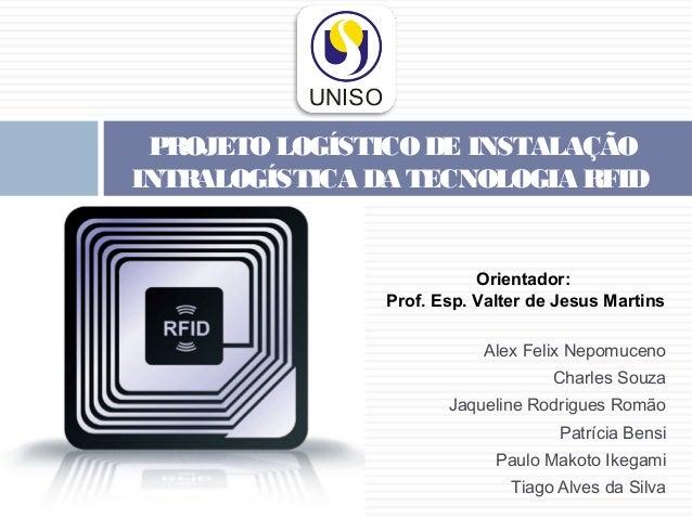 PROJETO LOGÍSTICO DE INSTALAÇÃO INTRALOGÍSTICA DA TECNOLOGIA RFID  Orientador: Prof. Esp. Valter de Jesus Martins Alex F...
