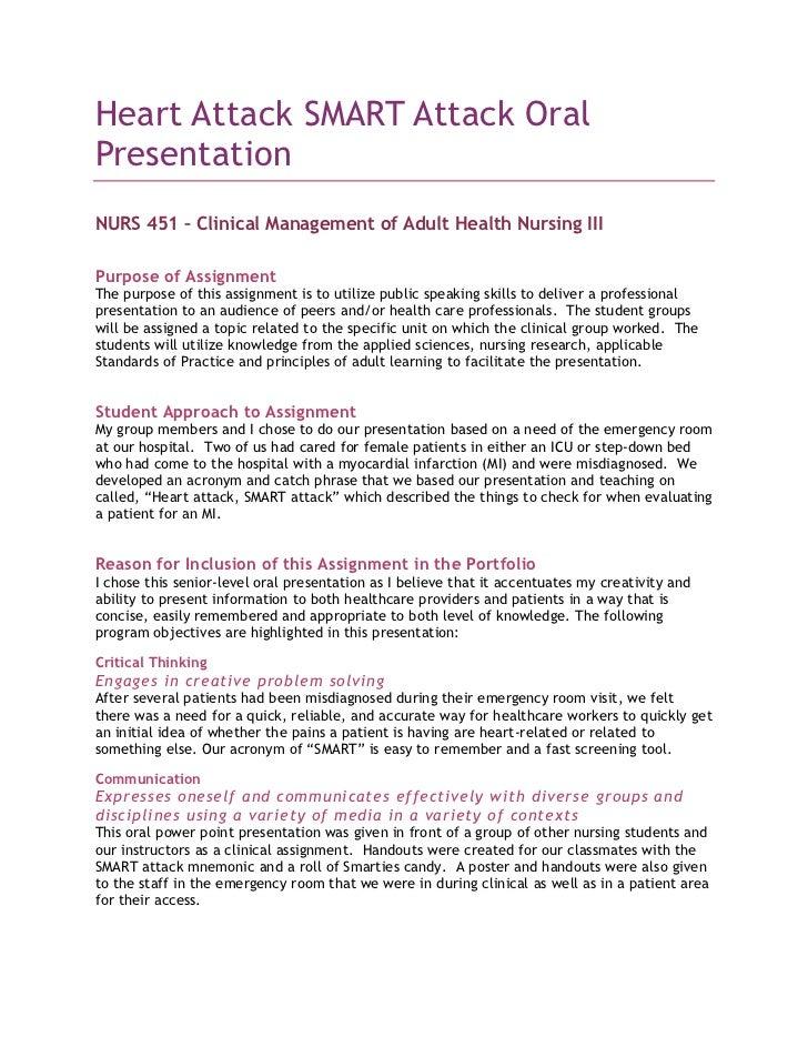 Heart Attack SMART Attack Oral Presentation<br />NURS 451 – Clinical Management of Adult Health Nursing III<br />Purpose o...