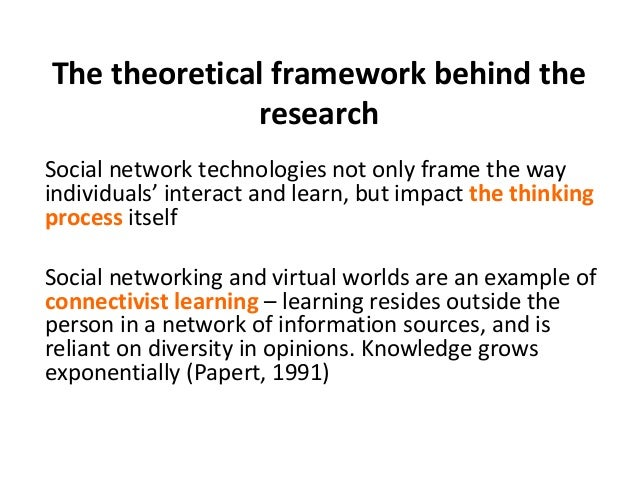 The theoretical framework behind the  research  Social network technologies not only frame the way  individuals' interact ...