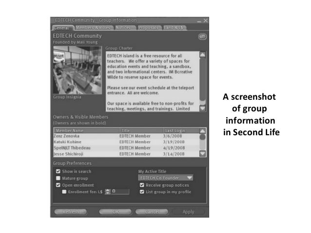 A screenshot  of group  information  in Second Life