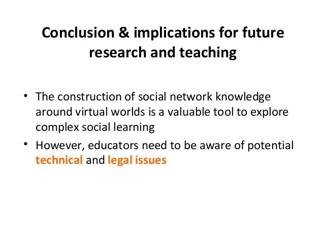 Conclusion & implications for future  research and teaching  • The construction of social network knowledge  around virtua...