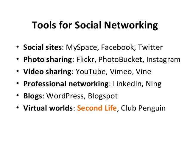 Tools for Social Networking  • Social sites: MySpace, Facebook, Twitter  • Photo sharing: Flickr, PhotoBucket, Instagram  ...