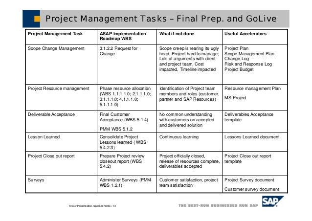 project management lessons learnt template - sap solution manager