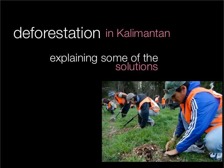 deforestation   in Kalimantan     explaining some of the                  solutions