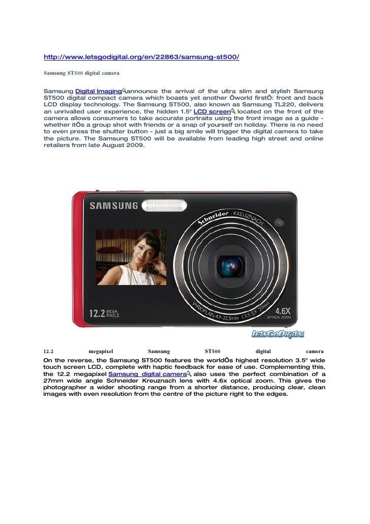 http://www.letsgodigital.org/en/22863/samsung-st500/  Samsung ST500 digital camera   Samsung Digital Imaging announce the ...