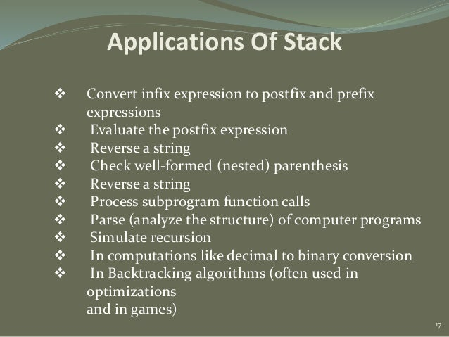 What are the applications of stacks in data structures?