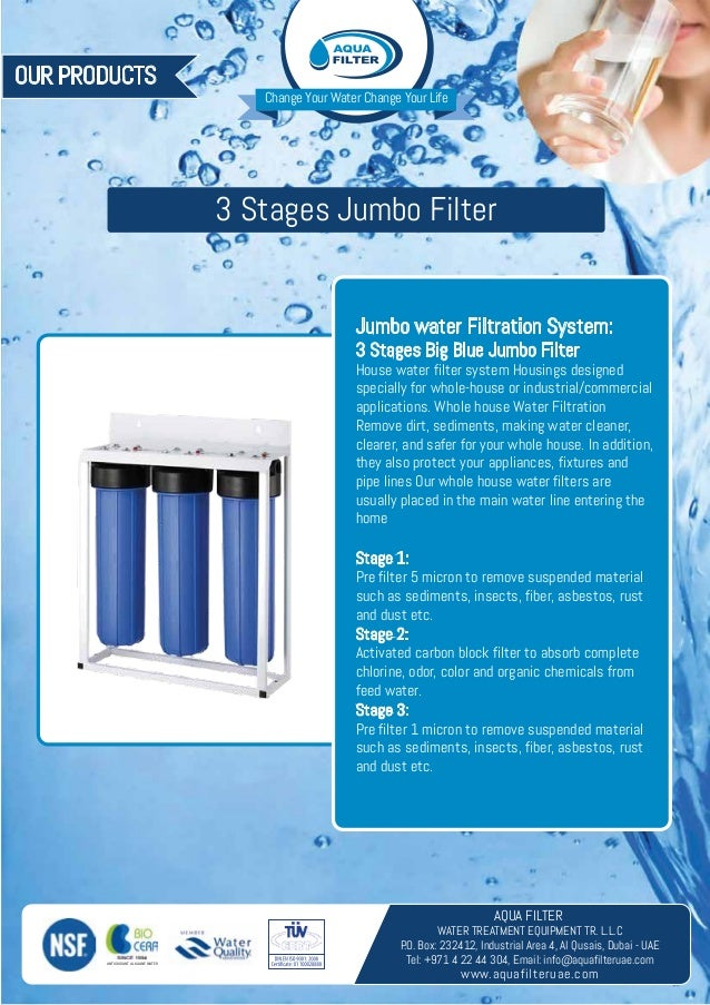 3 Stages Jumbo Water Filter Whole House Water Filtering