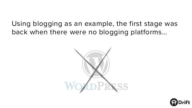 Using blogging as an example, the first stagewas back when there were no blogging platforms…