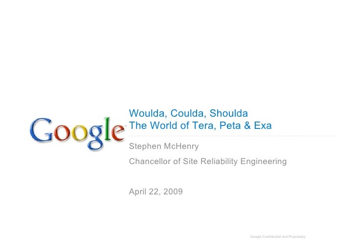 Woulda, Coulda, Shoulda The World of Tera, Peta & Exa Stephen McHenry Chancellor of Site Reliability Engineering   April 2...