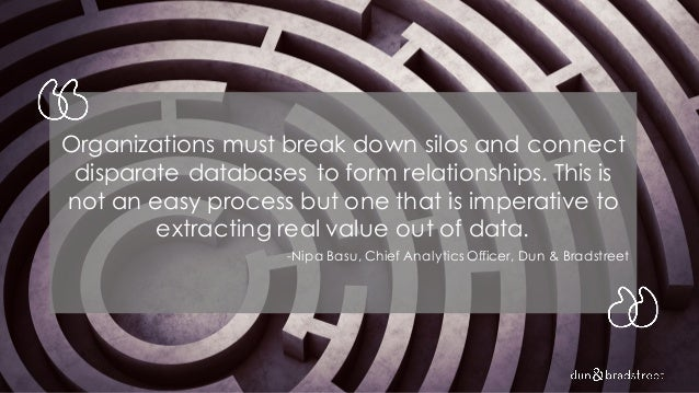 Organizations must break down silos and connect disparate databases to form relationships. This is not an easy process but...